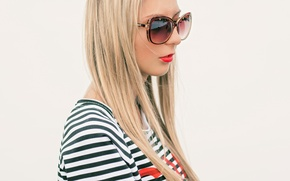 Picture summer, wall, Girl, glasses, blonde, white, red lipstick, sun