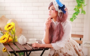 Wallpaper girl, face, style, hair, makeup, sitting, table