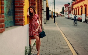 Picture girl, the city, street, dress