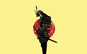 Wallpaper the sun, sword, warrior, Samurai