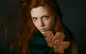 Picture sadness, girl, sheet, portrait, freckles, autumn