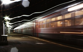 Picture light, train, excerpt, the platform, platform, long, train