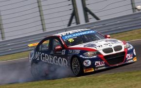 Picture grass, asphalt, smoke, bmw, BMW, track, 320tc, Tom Coronel, tom coronel