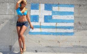 Picture wall, shorts, piercing, tattoo, Ashley Bulgari, Greece flag