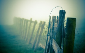 Picture macro, fog, the fence, haze, barbed, wire