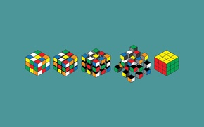 Wallpaper minimalism, graphics, Rubik's cube, art, background, Wallpaper, color, blue, options, Assembly