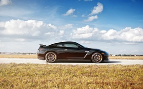 Picture road, the sky, clouds, black, nissan, profile, wheels, drives, black, Nissan, r35, GTR, gt-R