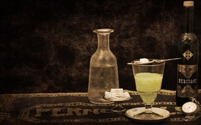 Picture style, retro, glass, bottle, alcohol, sugar, wallpaper, alcohol, absinthe, absinthe