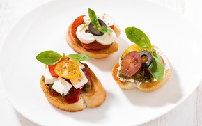 Picture mini, cheese, tomatoes, olives, sandwiches, appetizer, Basil, feta