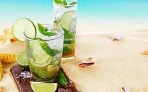 Picture sea, beach, shell, beach, sand, drink, mojito, cocktail, lime, Mojito, seashells