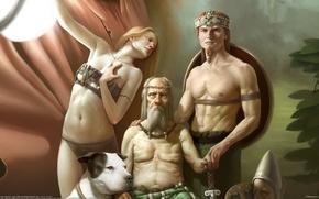 Picture girl, people, dog, male, Corrado Vanelli, the elder