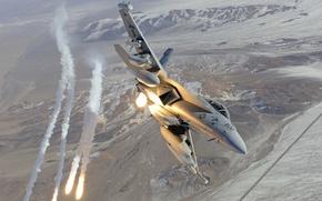 Picture shot, fighter, flight, EA-18G, f-18, flares, Growler, hornet