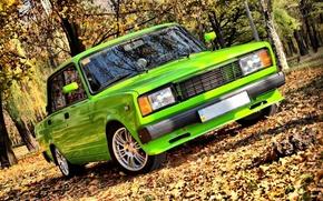 Picture Auto, Autumn, Trees, Leaves, Tuning, Park, Lada, Lada