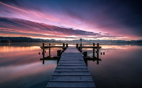 Picture the sky, water, clouds, nature, lake, surface, dawn, shore, morning, Switzerland, wooden, the bridge, dawn