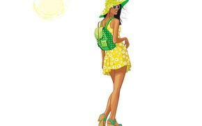 Picture summer, girl, the sun, style, back, vector, hat, dress, glasses, backpack