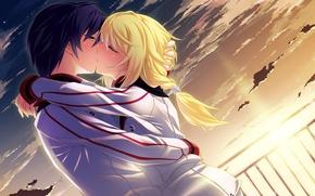 Picture girl, love, Wallpaper, anime, guy. kiss, IS: Infinite Stratos, Infinite Sky