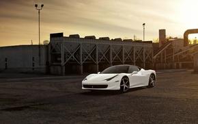Picture white, the sky, sunset, clouds, plant, white, ferrari, Ferrari, Italy, 458 italia