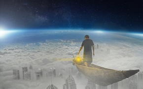 Picture the sky, space, clouds, fiction, the world, boat, people, lantern, fantasy, Shine