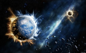 Picture stars, the explosion, planet
