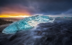 Wallpaper sea, beach, nature, shore, ice, Iceland.