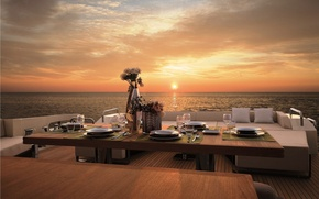 Picture sunset, the ocean, the evening, yacht, deck, dinner
