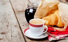 Wallpaper jam, Breakfast, coffee, Coffee, Growing, Cup, Cup, cakes, Board, baking, croissant