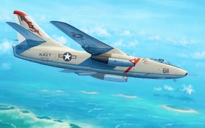 Picture bomber, war, art, airplane, painting, aviation, jet, A3D-2 (A-3B) Skywarrior