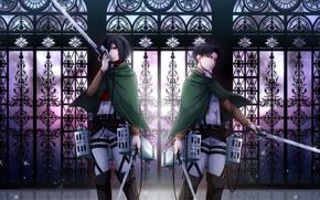 Picture girl, weapons, guy, two, Attack on Titan, Shingeki no Kyojin, Mikasa Ackerman, Rivaille, Levi