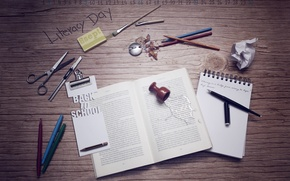 Picture autumn, table, a month, figures, handle, Notepad, book, pencil, 2012, school, brush, calendar, items, scissors, ...
