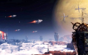 Picture space, sky, spaceship, planet, towers, marooned