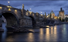 Picture the sky, water, light, clouds, the city, reflection, river, the evening, Prague, Czech Republic, lighting, ...