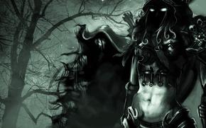Picture eyes, tree, elf, art, hood, World of Warcraft, zomg-zomb, Silvanas