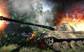 """Picture fire, smoke, battle, German, WW2, heavy tank, """"Royal tiger"""", """"Tiger II"""", Panzerkampfwagen VI Ausf. B …"""