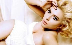 Picture white, Scarlett Johansson, blonde, Scarlett Johansson
