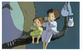 Picture night, branch, being, pajamas, sisters, my neighbor Totoro, tonari no totoro, satsuki kusakabe, mei kusakabe, …
