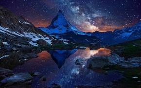 Picture the sky, stars, snow, night, lake, mountain, Switzerland, Alps, top, the milky way, Switzerland, Matterhorn, ...