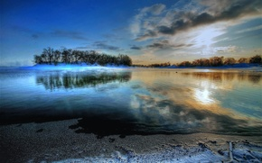 Picture FOREST, WATER, The SKY, CLOUDS, POND, SURFACE, TREES, ISLAND, Sankaluurit