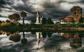 Picture autumn, temple, Russia, Vologda
