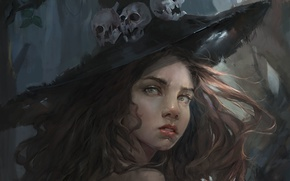 Picture look, girl, hat, art, skull, witch