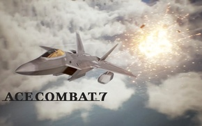 Picture explosion, Clouds, F-22 Raptor, Aviation, Aircraft, Fighter Jet, Ace Combat, Ace Combat 7