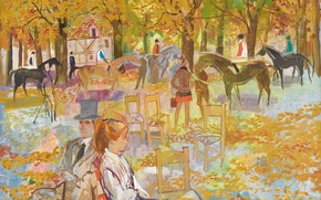 Picture autumn, trees, Park, people, picture, horse, the urban landscape, Emilio Grau Sala