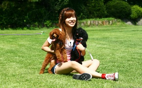 Picture animals, dogs, girl, nature, music, Asian, SNSD, Girls Generation, South Korea, K-Pop