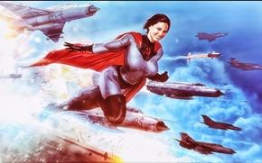 Picture the sky, girl, fiction, aircraft, costume, cloak, superwoman, Soviet-Superwoman