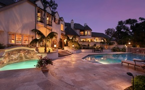 Picture flowers, design, lights, house, palm trees, the evening, pool, Villa, mansion