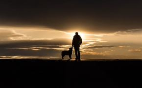 Picture sunset, people, dog, Portland, Maine, Sumner Park, The Touch