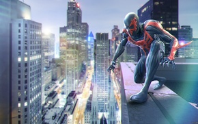 Picture spider-man, costume, comics, superhero, night, marvel, comics, Spider-man, Marvel, Miguel O'Hara, 2099, Miguel O'hara