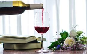 Wallpaper books, bouquet, glass, alcohol, drink, wine