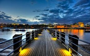 Picture England, London, twilight, London, England, Thames, River, Thames Pier