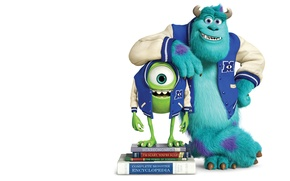 Picture blue, green, smile, horns, textbooks, one-eyed, Monsters University, Inc., Monsters Inc., Monsters University, Monsters