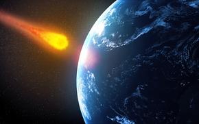 Picture planet, destruction, meteorite future impact